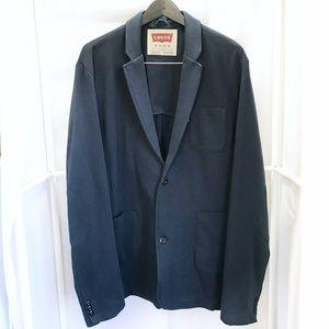 Levi's Navy Fleece Lined Knit Blazer Sz XL
